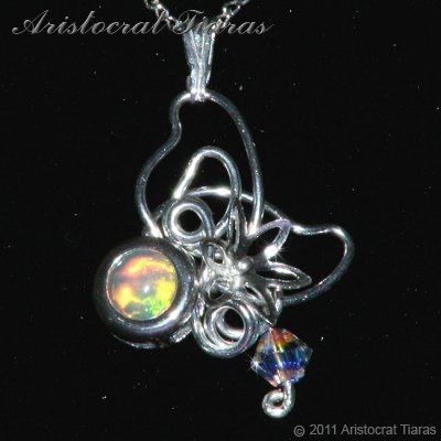 Floral design opal Swarovski handmade 925 necklace picture 1