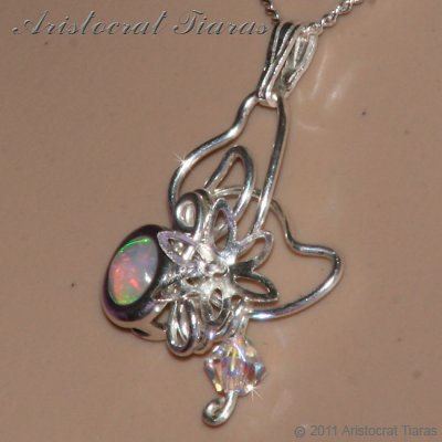 Floral design opal Swarovski handmade 925 necklace picture 10