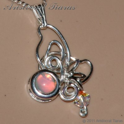 Floral design opal Swarovski handmade 925 necklace picture 11