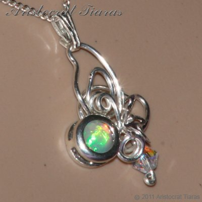 Floral design opal Swarovski handmade 925 necklace picture 12