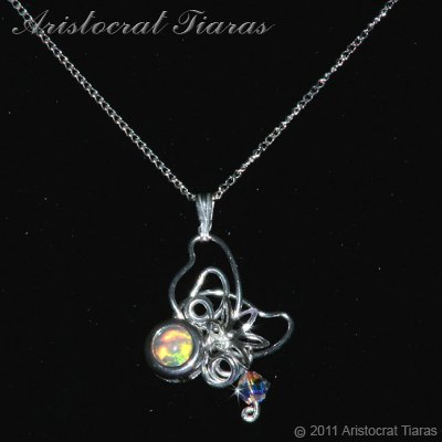 Floral design opal Swarovski handmade 925 necklace picture 2