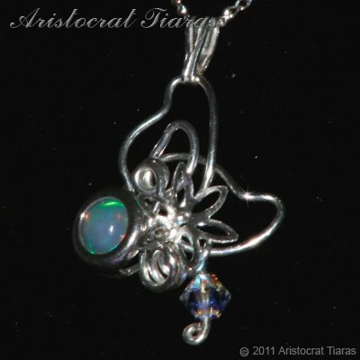 Floral design opal Swarovski handmade 925 necklace picture 3