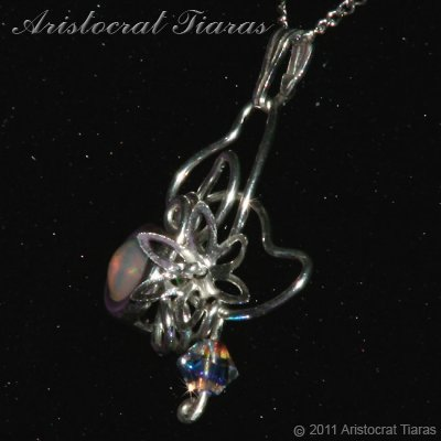 Floral design opal Swarovski handmade 925 necklace picture 4