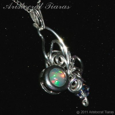 Floral design opal Swarovski handmade 925 necklace picture 6