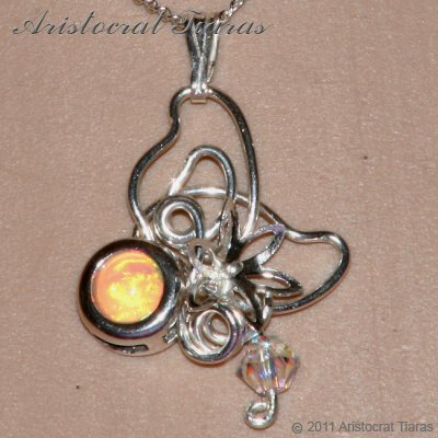 Floral design opal Swarovski handmade 925 necklace picture 8