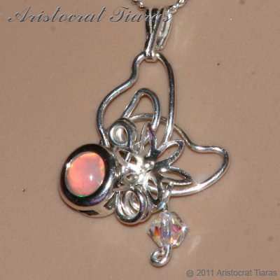 Floral design opal Swarovski handmade 925 necklace picture 9