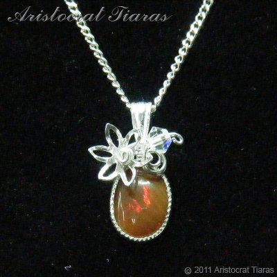 Flower design opal handmade Swarovski 925 necklace picture 1