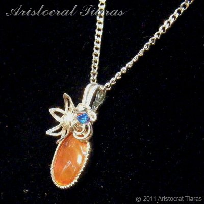 Flower design opal handmade Swarovski 925 necklace picture 4