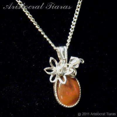 Flower design opal handmade Swarovski 925 necklace picture 5