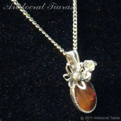 Flower design opal handmade Swarovski 925 necklace picture 6