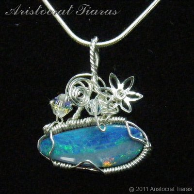 Tropical feel design opal doublet 925 necklace picture 1