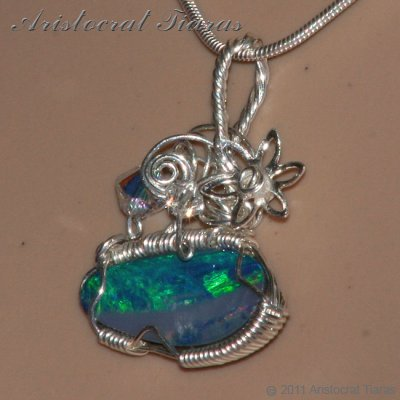 Tropical feel design opal doublet 925 necklace picture 10