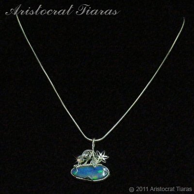 Tropical feel design opal doublet 925 necklace picture 2