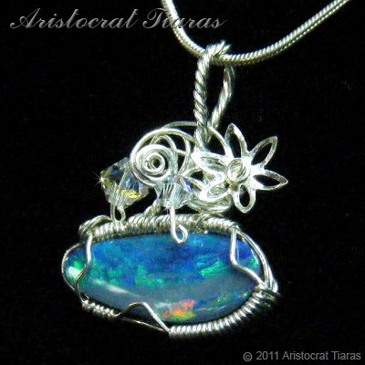 Tropical feel design opal doublet 925 necklace picture 3