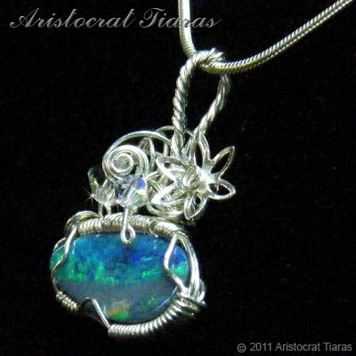 Tropical feel design opal doublet 925 necklace picture 4