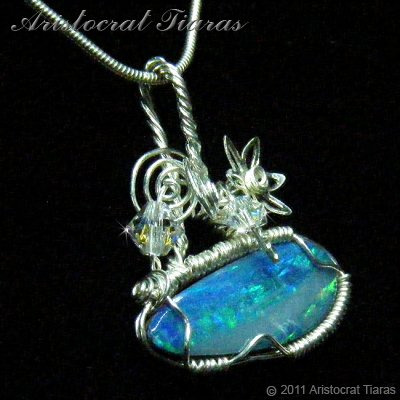 Tropical feel design opal doublet 925 necklace picture 5