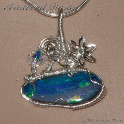 Tropical feel design opal doublet 925 necklace picture 8