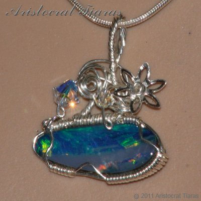 Tropical feel design opal doublet 925 necklace picture 9