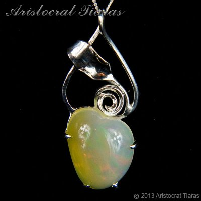 Lady Elise 925 silver swirls leaf heart opal necklace picture 1