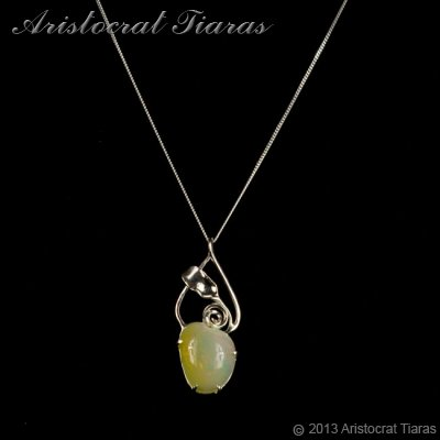 Lady Elise 925 silver swirls leaf heart opal necklace picture 2
