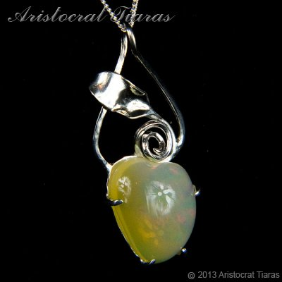 Lady Elise 925 silver swirls leaf heart opal necklace picture 3