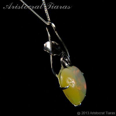 Lady Elise 925 silver swirls leaf heart opal necklace picture 5