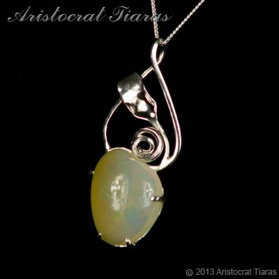 Lady Elise 925 silver swirls leaf heart opal necklace picture 6