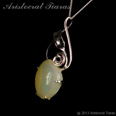 Lady Elise 925 silver swirls leaf heart opal necklace picture 7
