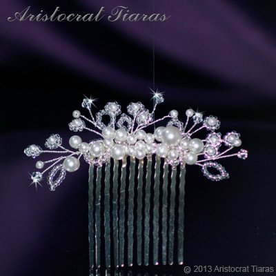 Lady Alina handmade Swarovski pearl flower hair comb - click for supersize image