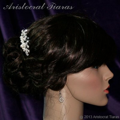 Lady Alina handmade Swarovski pearl flower hair comb picture 3