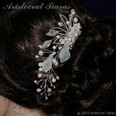 Lady Amelia jade lily Swarovski hair comb picture 2