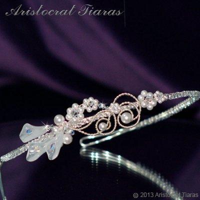 Lady Callia handmade lily Swarovski bridal headband - click for supersize image