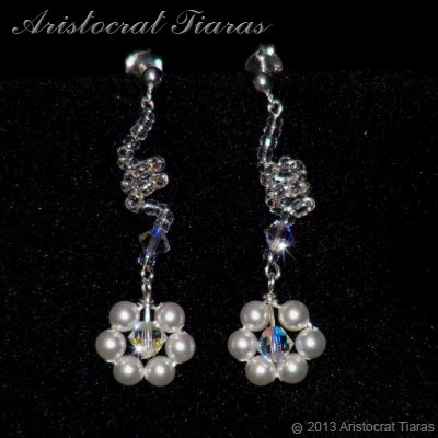 Lady Cassandra flowers handmade bridal earrings picture 1