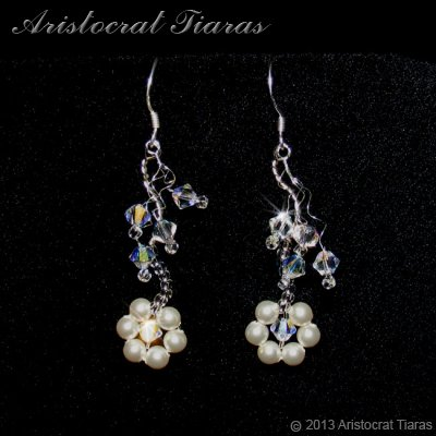 Lady Clara flowers handmade bridal earrings - click for supersize image