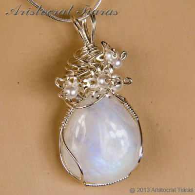 Lady Grace 925 flowers pearls moonstone necklace picture 9
