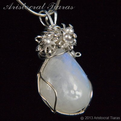 Lady Grace 925 flowers pearls moonstone necklace picture 3