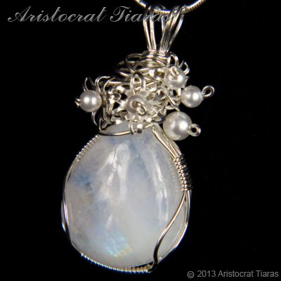 Lady Grace 925 flowers pearls moonstone necklace picture 5
