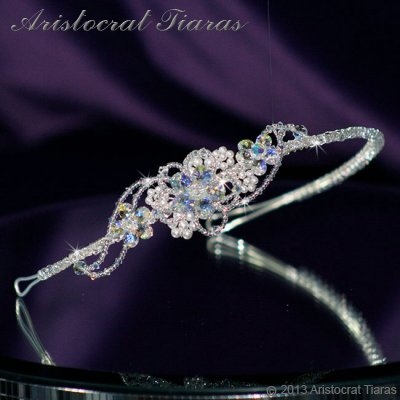 Lady Helena handmade Swarovski crystal flower bridal headband - click for supersize image