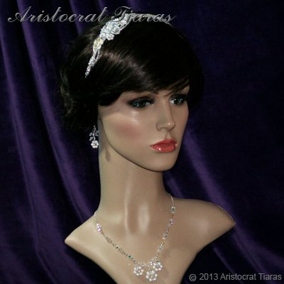 Lady Helena handmade Swarovski crystal flower bridal headband picture 11
