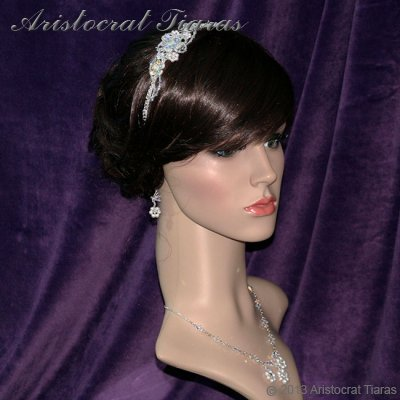 Lady Helena handmade Swarovski crystal flower bridal headband picture 12