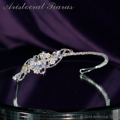 Lady Helena handmade Swarovski crystal flower bridal headband picture 2