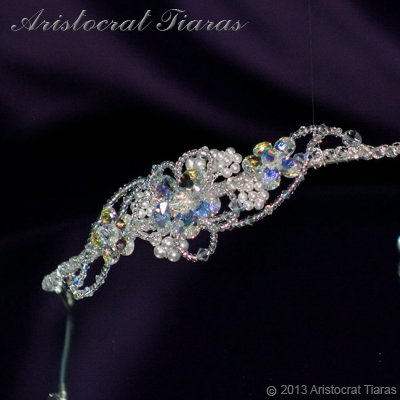 Lady Helena handmade Swarovski crystal flower bridal headband picture 3