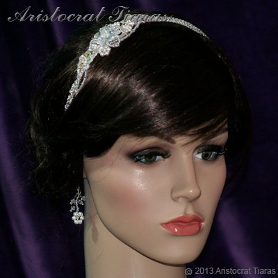 Lady Helena handmade Swarovski crystal flower bridal headband picture 5