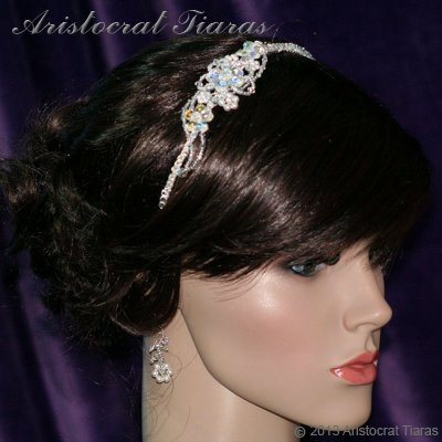 Lady Helena handmade Swarovski crystal flower bridal headband picture 6