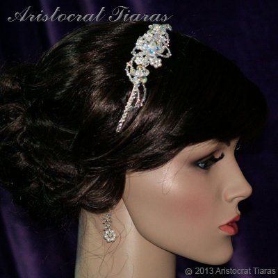 Lady Helena handmade Swarovski crystal flower bridal headband picture 7