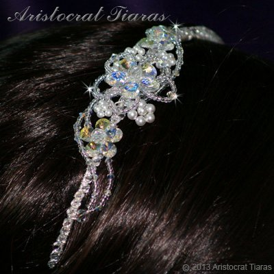Lady Helena handmade Swarovski crystal flower bridal headband picture 8