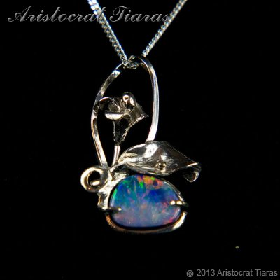 Lady Kalani 925 silver Opal doublet necklace - click for supersize image