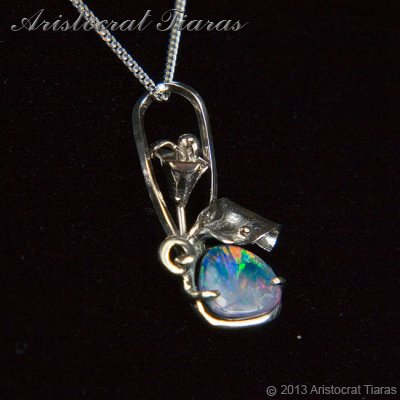 Lady Kalani 925 silver Opal doublet necklace picture 2
