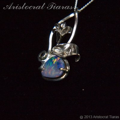 Lady Kalani 925 silver Opal doublet necklace picture 6