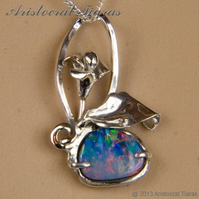 Lady Kalani 925 silver Opal doublet necklace picture 7